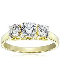 10k Yellow Gold Three-Stone Round Ring Made with Swarovski Zirconia (1.25 cttw)