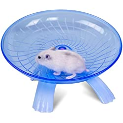 Wildgirl Small Pet Hamster Flying Saucer Exercise Wheel Jogging Running Silent Spinner (Blue)