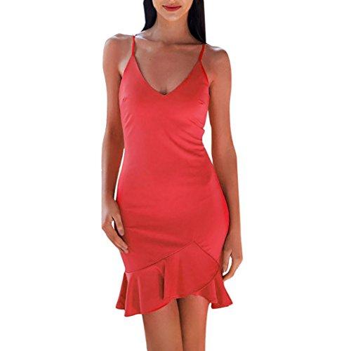 ba51ea7ccde2 Estivi Lunghi Scollo Da Senza Lungo Maniche Vestiti Eleganti Cerimonia  Rosso Abito V Vestito Abiti Beautyjourney Donna IfwYFnq