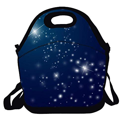 (Feddiy Abstract-starry-night-sky-vector Decorative Reusable Lunch Handbags Portable Lunch Tote Food Container Gourmet Tote Cooler Warm Pouch for School Work Office)