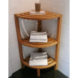 Spa Teak 3-tiered Corner Shelf