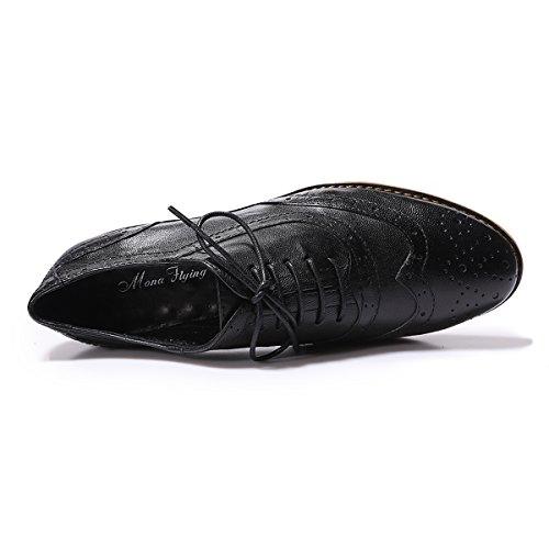 Mona Flying Dames Lederen Geperforeerde Veter Oxfords Schoenen Voor Dames Wingtip Multicolor Brougue Schoenen Zwart