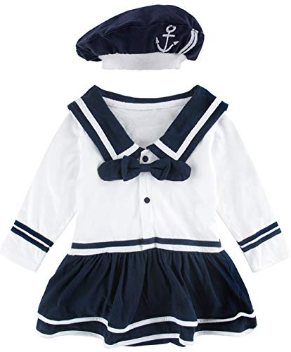 COSLAND Baby Girls' Sailor Dress Long Sleeves Costumes with Hat (White, 18-24 ()