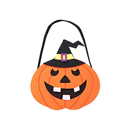 Yeefant Assorted Halloween Theme Trick Treat Children Goodys Bag Cute Witches Candy Packaging Party Storage Ghost Pattern Tote Gift, 8.67 x 7.01inch,Black Cat Pumpkin -
