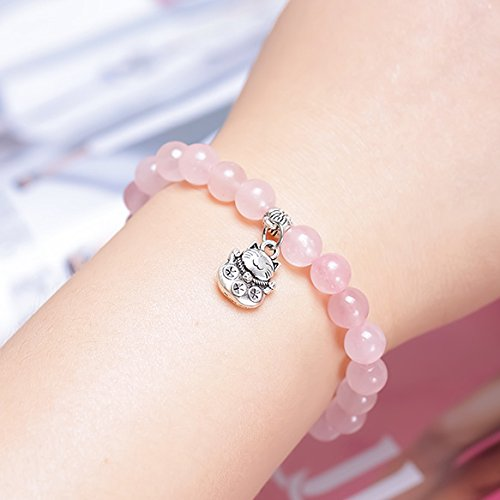 - Korean rose quartz bracelet ceramic cat cute beaded bracelets bracelets lap