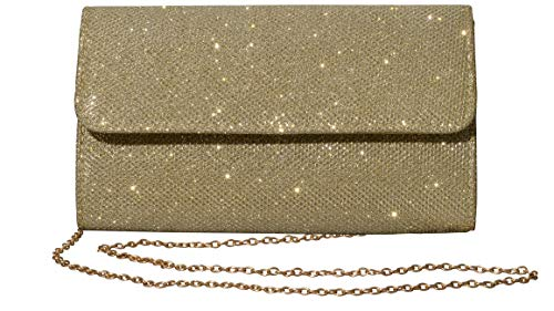 - Outrip Women's Evening Bag Clutch Purse Glitter Party Wedding Handbag with Chain (Gold)