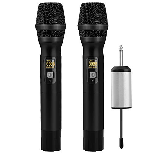 Recording Bus Console 8 (Ankuka Dual Handheld Dynamic Wireless Microphone, 25 Channel UHF Cordless Microphone System with Portable Receiver 6.5mm Output & 3.5mm Output Adapter for House Parties, Karaoke, Business Meeting)