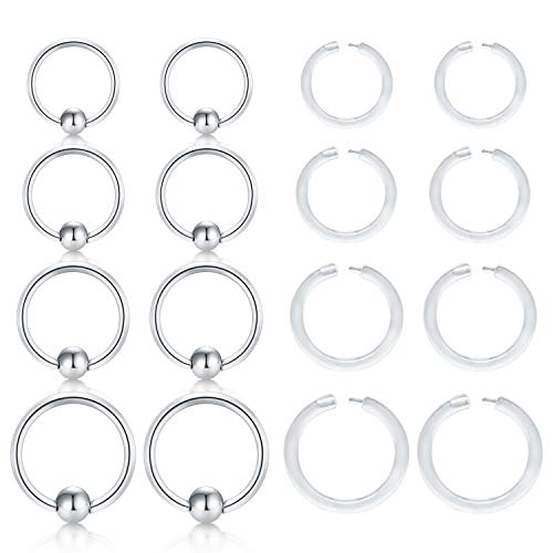 MODRSA 14G Surgical Steel Attached Captive Bead Nose Rings Hoop Spring Navel Eyebrow Septum Rings Piercing & Clear Lip Ear Cartilage Helix Tragus Earrings Piercing Retainer Acrylic Captive Bead Ring