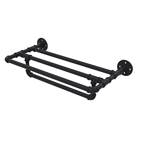 Allied Brass P-240-36-TSTB-BKM Pipeline Collection 36 Inch Wall Mounted Shelf with Towel Bar, 36