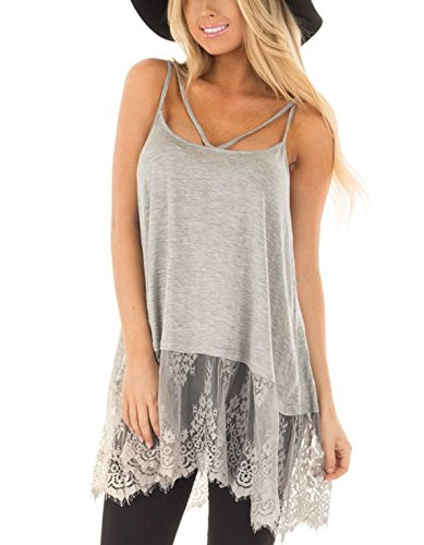 Sexy Spaghetti Strap Camisole Long Tank Top Lace Peplum Shirt Tunics Dress (M,Grey)