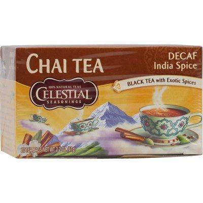 CELESTIAL SEASONINGS CHAI,ORIGINAL,INDIA DECAF, 20 BAG