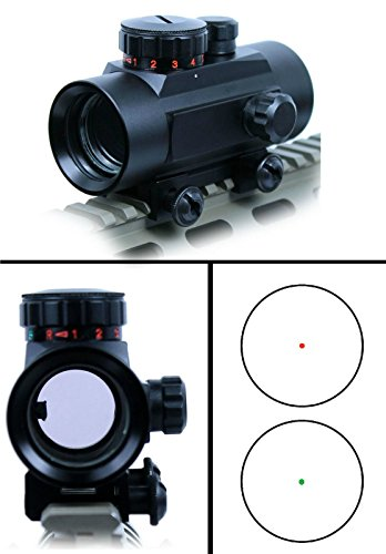 (Ultimate Arms Gear 1X30 Tactical CQB Dual Red & Green Reticle Dot Adjustable Brightness Weaver-Picatinny 7/8