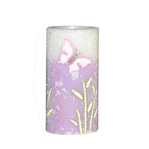 Home impressions Spring Flameless LED Candle with Timer, Embossed Purple Butterfly and Work with 2 C Battery
