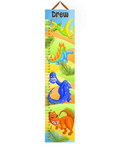 Toad and Lily Canvas GROWTH CHART Bright Dinotastic Dinosaurs Kids Bedroom Baby Nursery Wall Art GC0104 (Growth Chart Dinosaur Personalized)
