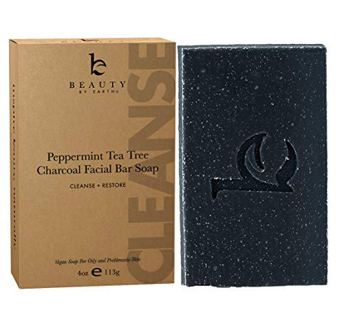 Charcoal Face Wash Bar Soap - Organic Peppermint Tea Tree Antibacterial Soap Bar Facial Cleanser for Oily Skin, Acne Cleanser, Natural Soap, Black Soap Face Cleanser, Acne Face Wash, Women & Mens Face (Best Acne Soap For Oily Skin)