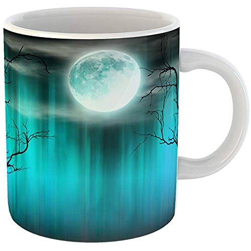 Funny Coffee Tea Mug Gift 11 Ounces Funny Ceramic Blue Apocalypse Spooky Halloween Old Trees Silhouettes and Shining Moon Orange Gifts For Family Friends Coworkers Boss -