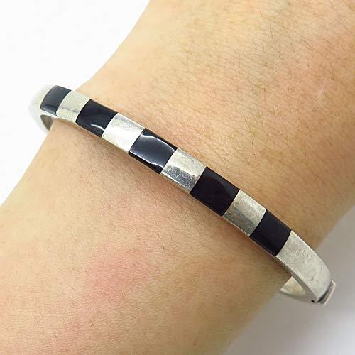 (Vintage 925 Sterling Silver Black Onyx Gem Inlay Hinged Bangle Bracelet 7.5