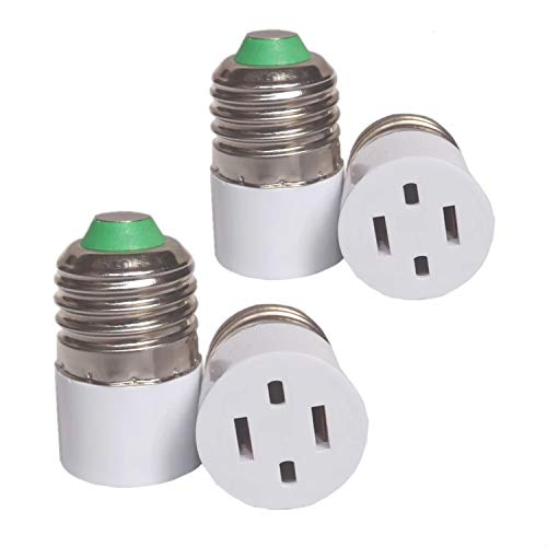 (4pack) Outlet Plug Converter Adapter 2 Prong Type A Outlet screw in adapter Type A Outlet converter E26/E27 Light Socket Adapter,Two Holes