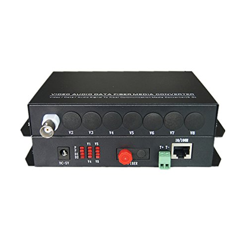 et Fiber Optic Media Converters (Transmitter and Receiver) -1 Channel Video Extender with 10/100Mbps Ethernet RJ45 and RS485 Data - Working Distance 20Km ()