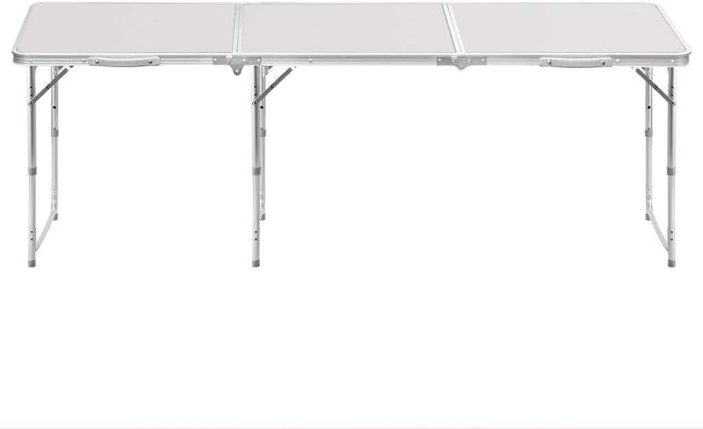 JERPOZ 1.8m Mesa Plegable Alargada Y Extendida Tres Veces Plegable Mesa Al Aire Libre Mesa Mesa Barbacoa En El Jardín Se Puede Colocar Sombrilla Mesa Plegable (Color : White-a): Amazon.es: Hogar