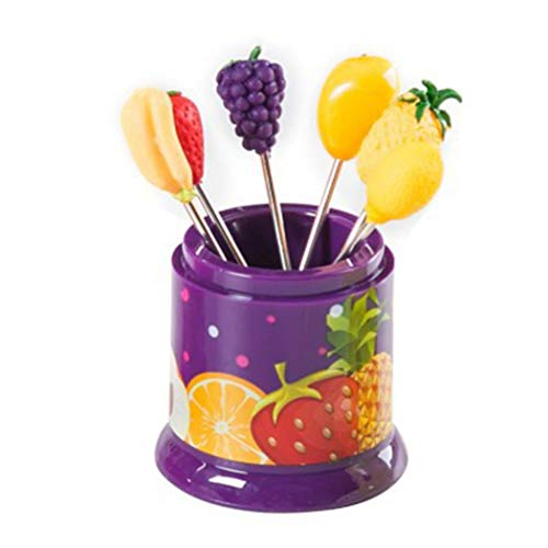 Purple Cake Fork - Fruit Fork,Hot Sale! Hongxin 6PCS Reusable Cute Mini Stainless Steel Fruit Fork Toothpick Holder Decoration Kitchen Bar Kid Snack Cake Dessert Fork Tableware (purple)