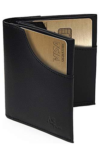 Slim Mens Wallet RFID Blocking Compact Front and Back Pocket Leather Card Holder (Black)