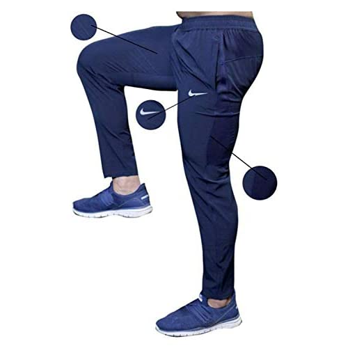 41XFWbNXGcL. SS500  - BuyBack Men's Cotton Track Pants, Joggers, Night Wear Pajama, Sports Gym, Lower with Zip Pockets (Blue, Large)