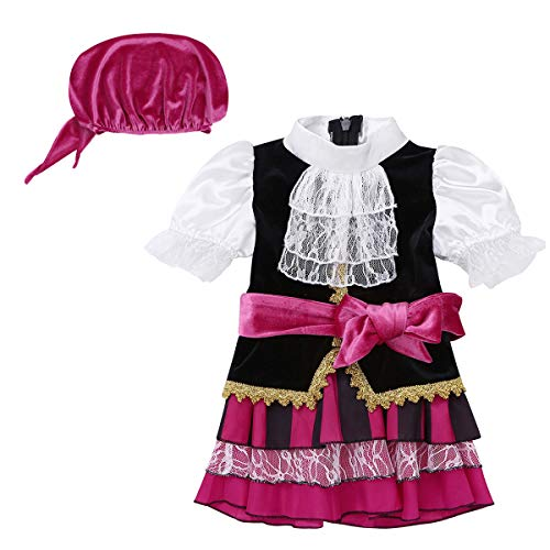 CHICTRY Infant Baby Girls Pirate Girl Costume Princess Halloween Cosplay Party Fancy Dress up Fuchsia&White 6-12 Months -