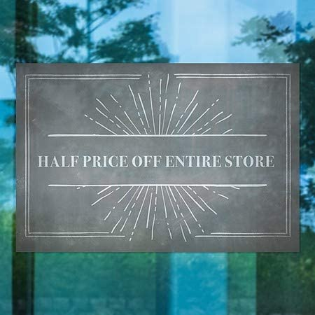 Half Price Off Entire Store Chalk Burst Window Cling CGSignLab 30x20 5-Pack