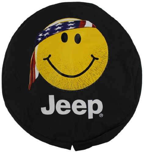 (Genuine Jeep Accessories 82208686AD Cloth Spare Tire Cover with Smiley Face)