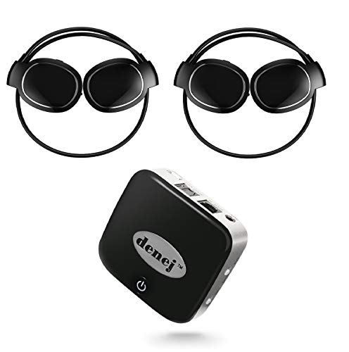 Wireless Bluetooth Headphone Set for TV | Dual Mini On Ear HD Audio Headsets and SPDIF Bluetooth Transmitter | Cordless Headphones Duo with Swipe Controls,Microphone for Movies,Music,TV,Mobile Phone.