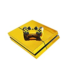 Ake Protective Vinyl Decal Skin Sticker Cover for Playstation 4 PS4 Console and Controllers -Gold