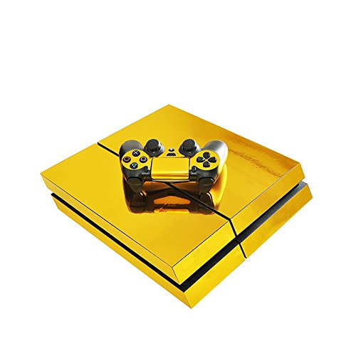 Price comparison product image Chickwin PS4 Vinyl Skin Full Body Cover Sticker Decal For Sony Playstation 4 Console & 2 Dualshock Controller Skins (Gold Glossy)
