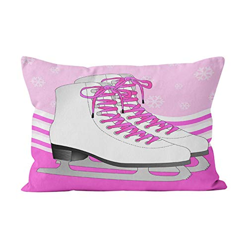 Hahala Beauty Ice Skating Pink with Snowflakes Reversible Hidden Zipper Home Decorative Rectangle Throw Pillow Cover Cushion Case Boudoir 12x20 inch One Side Design Printed Pillowcase ()
