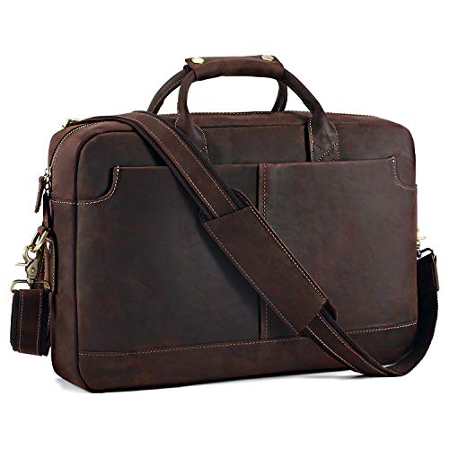 "Kattee Vintage Genuine Leather 17"" Laptop Briefcase Messenger Bag Tote, Coffee"