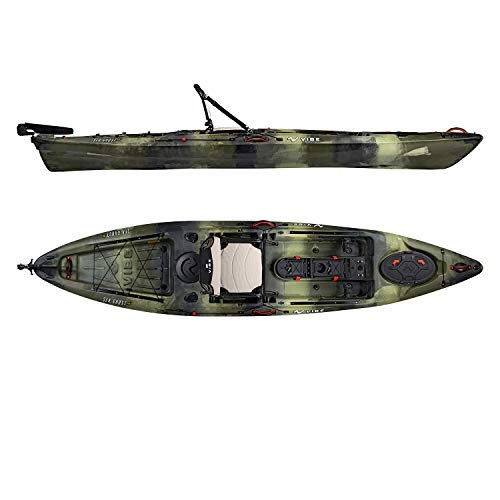Vibe Kayaks Sea Ghost 130 13 Foot Angler Sit On Top Fishing Kayak with Adjustable Hero Comfort Seat Transducer Port Rod Holders Storage Rudder System Included