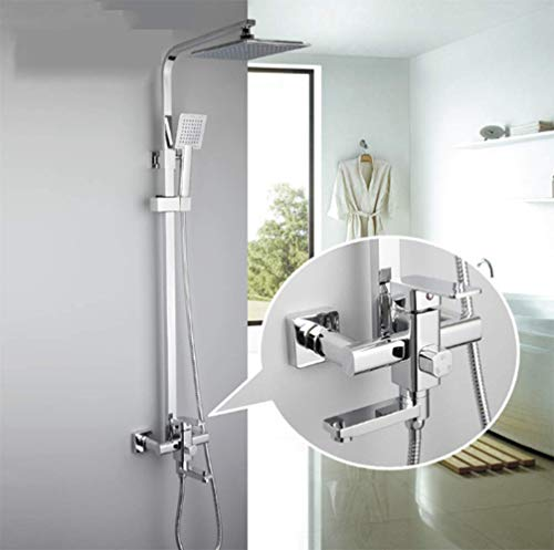 WANNA.ME 1 Set Bathroom Rainfall Shower Faucet Set Single Handle Mixer Tap with Hand Sprayer Wall Mounted Bath Shower Sets