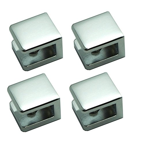 Pack of 4 LuKLoy Shower Glass Clamp, No-drill-on-glass Fixed Panel Shower Door Clip Holder Bracket Support Fixed Panel U-Clamp (4, Square clamp for 6~10mm glass)
