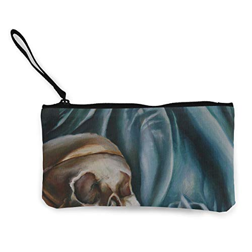 Oomato Canvas Coin Purse Skull Cloth Bone Cosmetic Makeup Storage Wallet Clutch Purse Pencil Bag]()