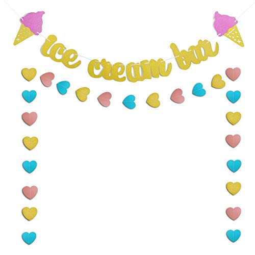 Ice Cream Themed Birthday Party (Gold Glittery Ice Cream Bar & Ice Cream Sign Banner and Pink, Blue, Gold Heart Paper Garland Birthday Party Ice Cream Theme Party Summer Theme Party Baby Shower Wedding Decorations)