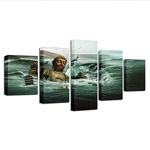 Yyjyxd Canvas Paintings for Living Room Wall Art Framework Hd Prints Poster 5 Pieces Submerged in Sea Buddha Statue Pictures Home Decor,12X16/24/32Inch,Without Frame