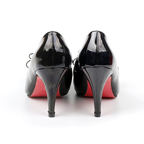 Foot Patent Leather Strappy Sandals Heels With Thin Heel Sweet Bow Pointed Women'S Shoes Red Black ksLKWT