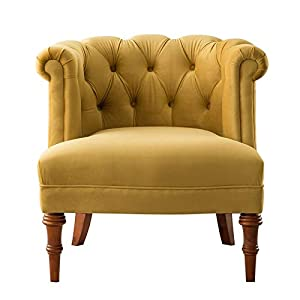 Brika Home Tufted Accent Chair in Gold