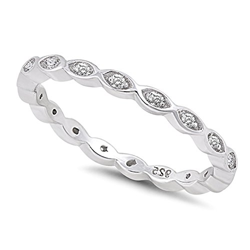 Solid Sterilng Silver Stackable Endless Eternity Ring Cubic Zirconia Sterling Silver Size 3