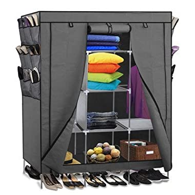 Portable Storage Organizer Wardrobe Closet & Shoe Rack, Gray, 13 Customizable Shelves with Sturdy, Rust-Proof Stainless Steel Frame- 9 Side Pockets for Garment, shoes, Accessories, Moisture Proof Fabric- Assemble Easy, 69  x 51  x 17.5 , 15 Cubic Ft