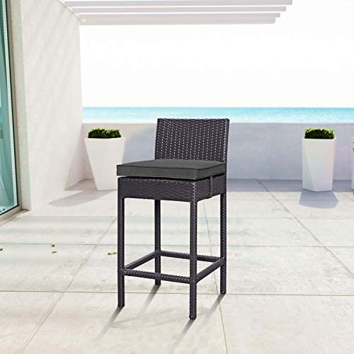 Image of Modway EEI-1006-EXP-CHA Convene Outdoor Patio Fabric Bar Stool in Espresso Charcoal, One, Black