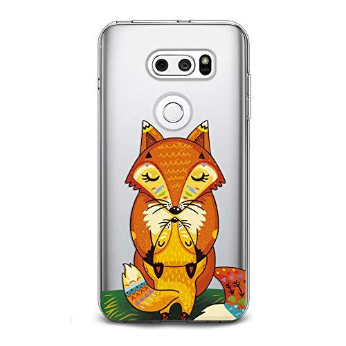 Lex Altern LG TPU Case G7 Fit One ThinQ G6 V40 V35 Plus V30 V20 Q8 Cute Fox Orange Baby Clear Mom Silicone Phone Cover Print Protective Lightweight Flexible Girl Women Soft Kids Smooth Hugging Kiss