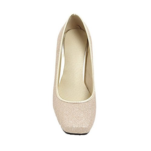 Odomolor Women's Pull-On Kitten-Heels Sequins Solid Closed-Toe Pumps-Shoes Gold FhXuH8w0