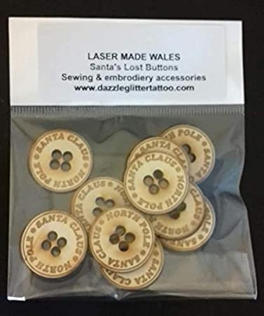 Amazon com: Laser Made Wales 25 x Wooden Buttons Santa