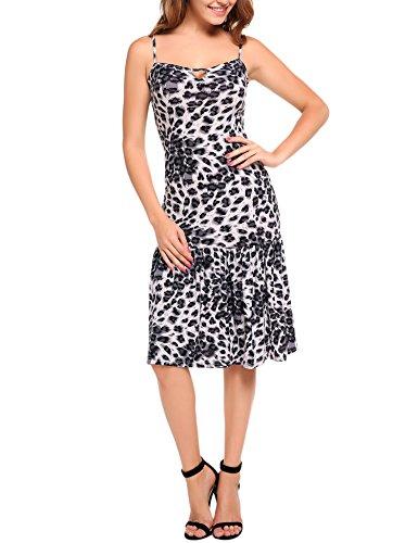 ANGVNS Women Sexy Sleeveless Spaghetti Strap Keyhole Leopard Ruffled Hem Dress  Grey  (Ruffled Leopard)
